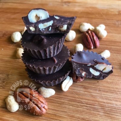 Chocolate cups with dried fruit