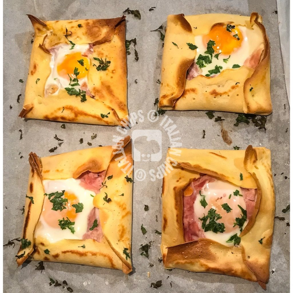 crepes with egg and ham